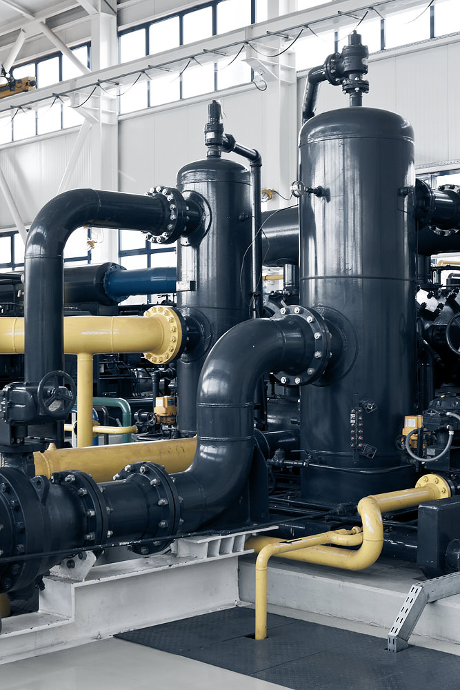 Detaliu interior statie de comprimare gaze naturale Sarmasel
