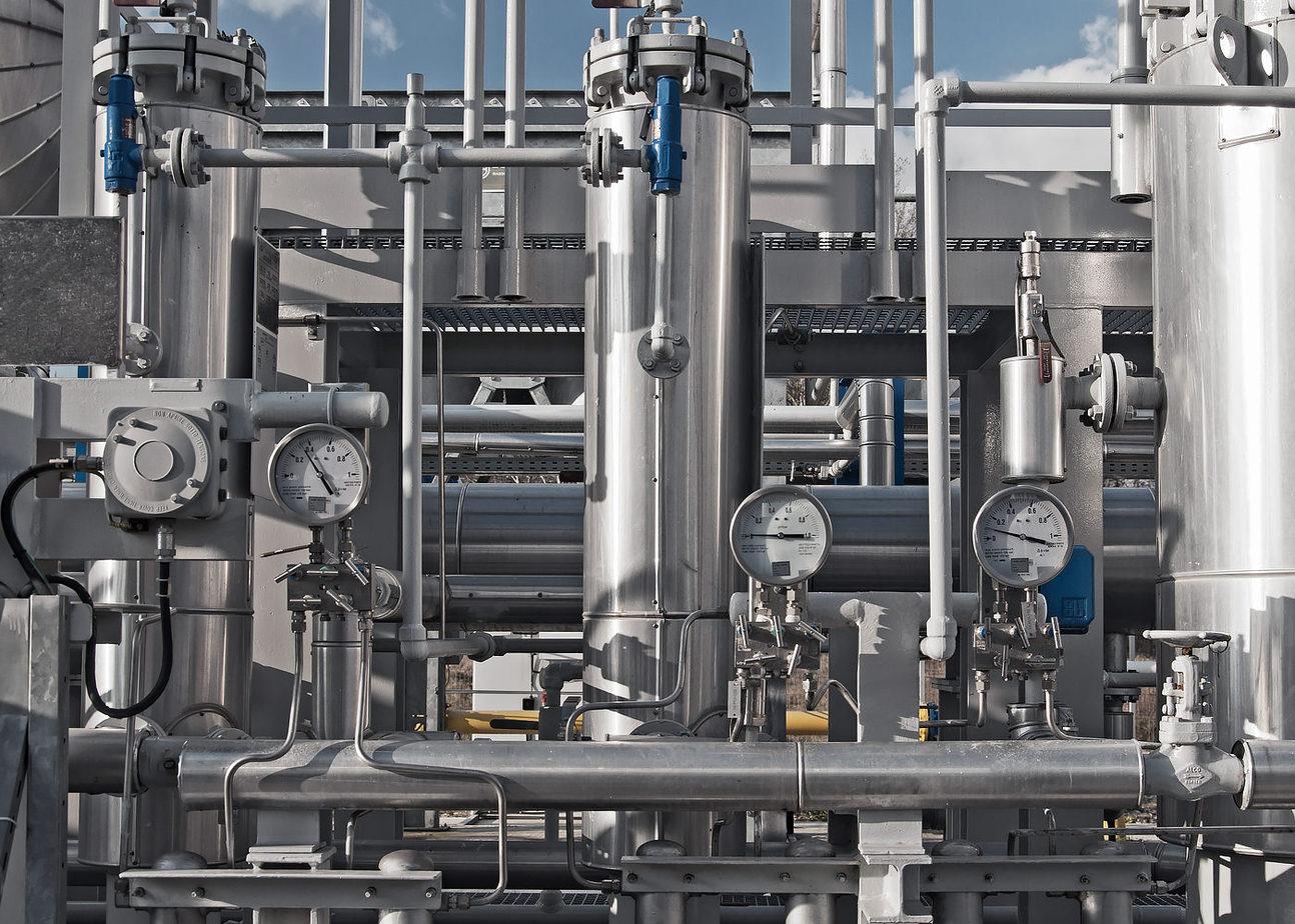 Detaliu statie de uscare gaze naturale