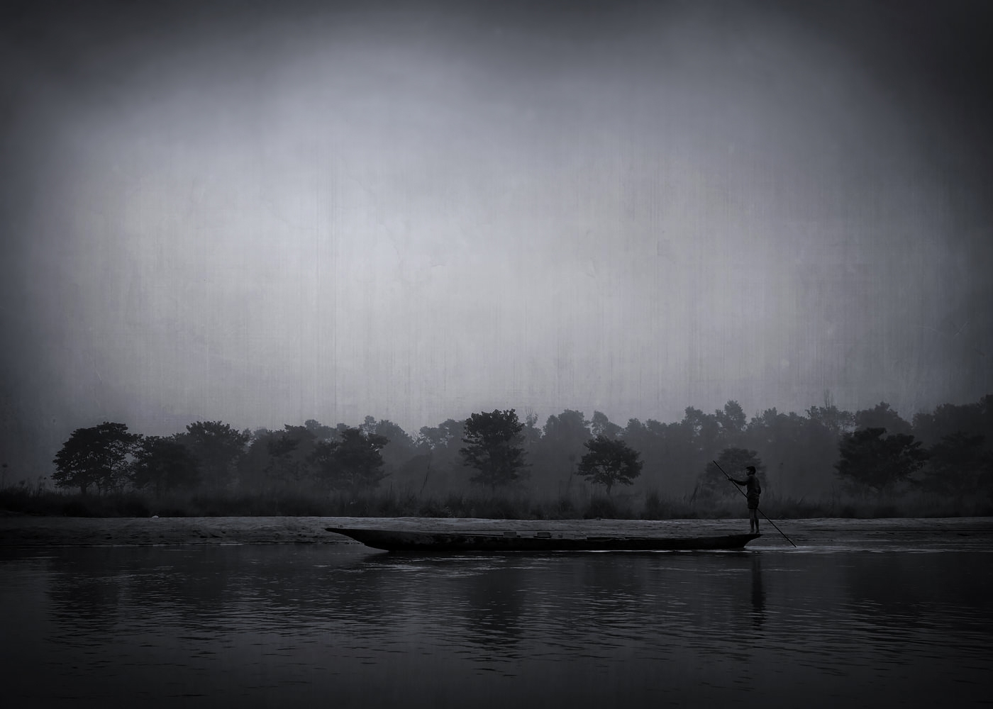 Gondolier Parcul Chitwan rezervatie naturala Nepal alb negru