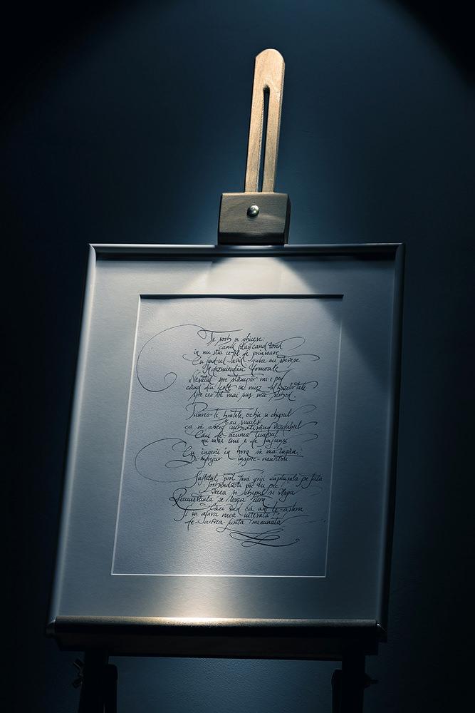 Poezie cadou cu caligrafie deosebita inramata pe sevalet